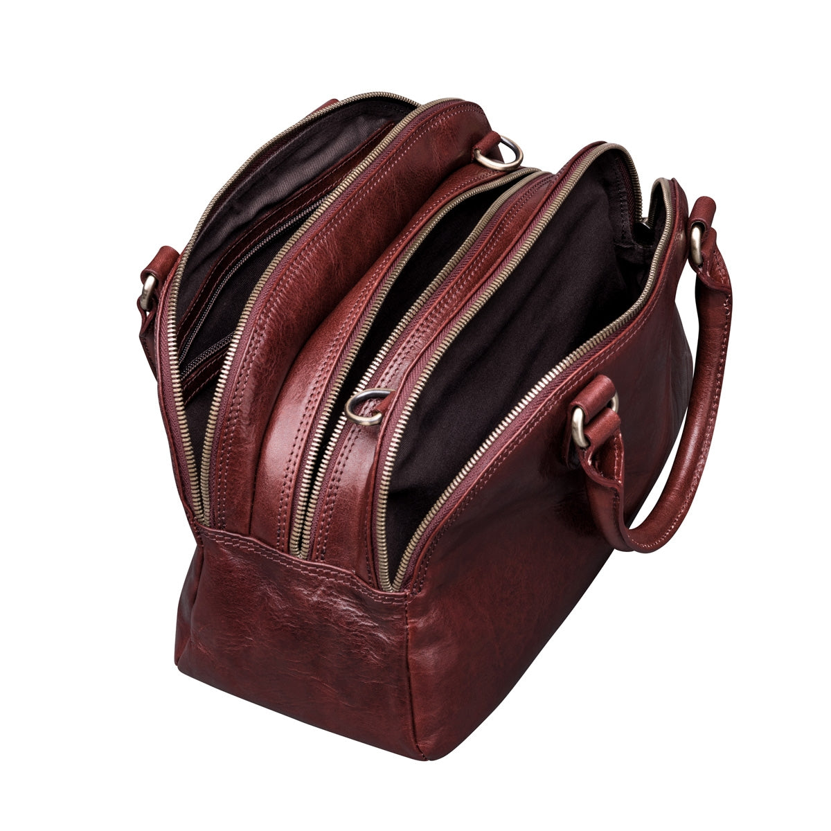 Image 4 of the 'LilianaS' Wine Leather Bowling Bag Handbag