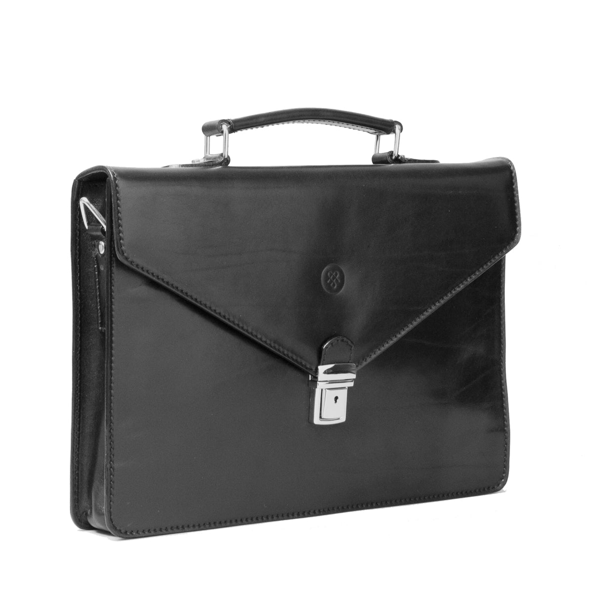 Image 2 of the 'Lorenzo' Black Veg-Tanned Slim Briefcase