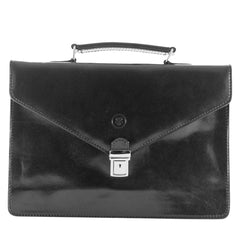 Image 1 of the 'Lorenzo' Black Veg-Tanned Slim Briefcase