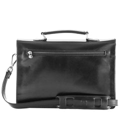 Image 4 of the 'Lorenzo' Black Veg-Tanned Slim Briefcase