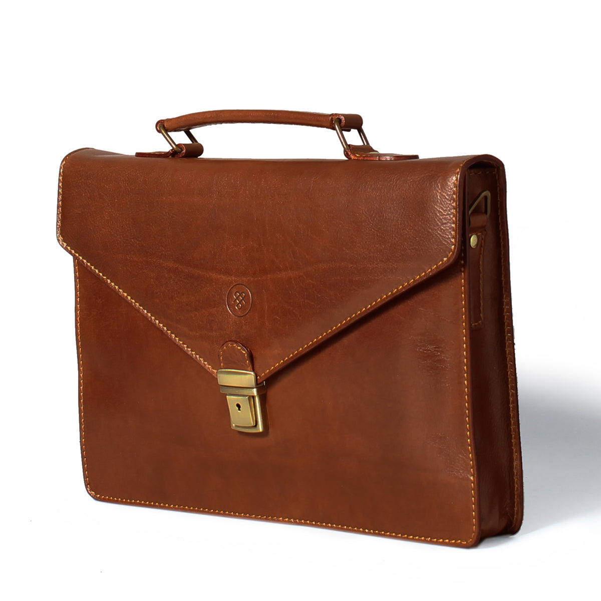 Image 2 of the 'Lorenzo' Chestnut Veg-Tanned Slim Briefcase