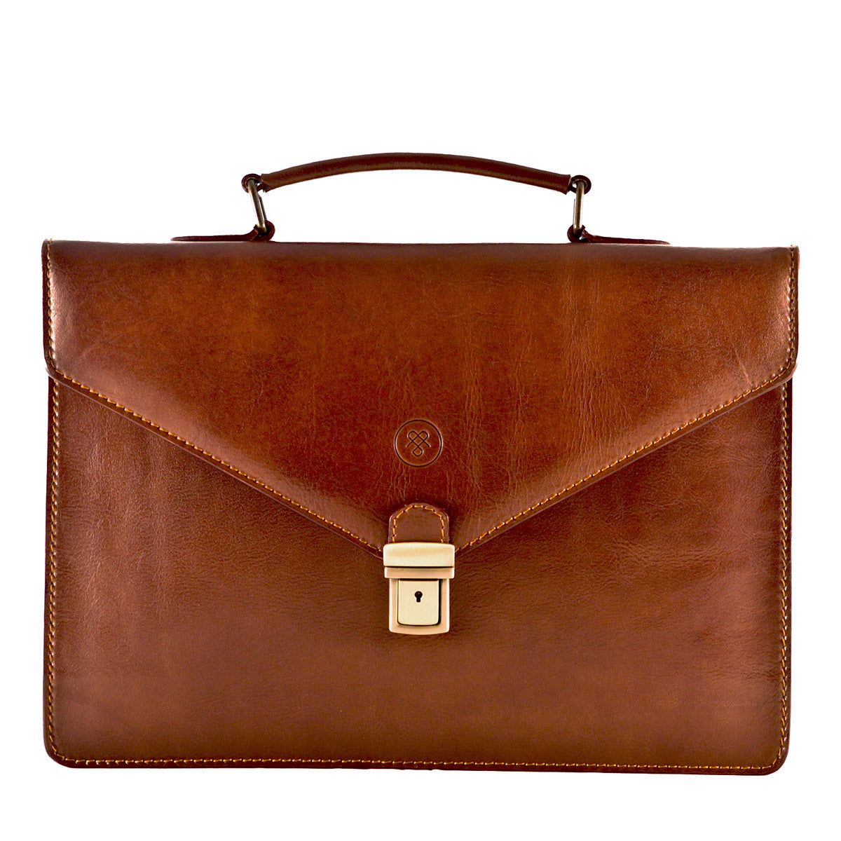 Image 1 of the 'Lorenzo' Chestnut Veg-Tanned Slim Briefcase