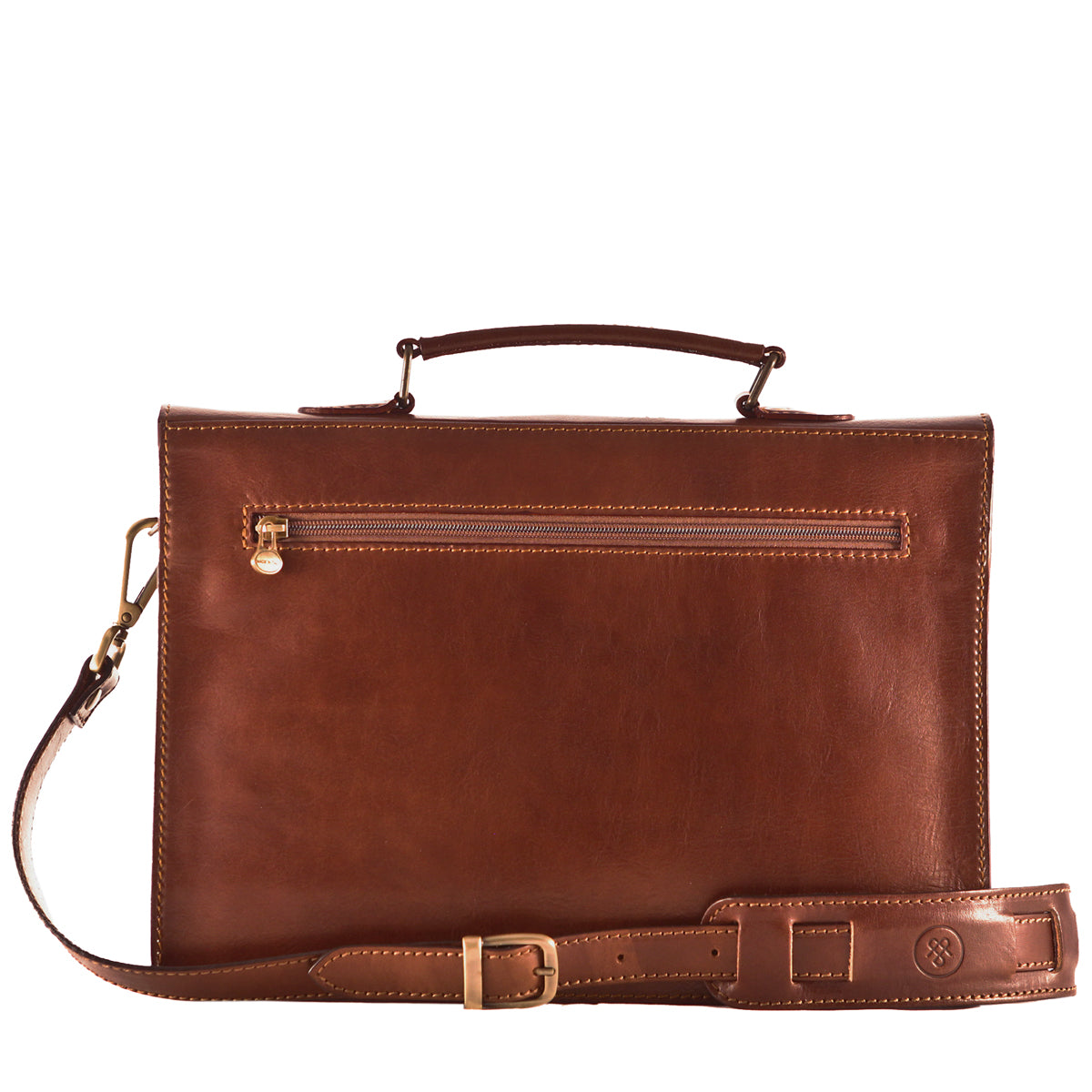 Image 4 of the 'Lorenzo' Chestnut Veg-Tanned Slim Briefcase