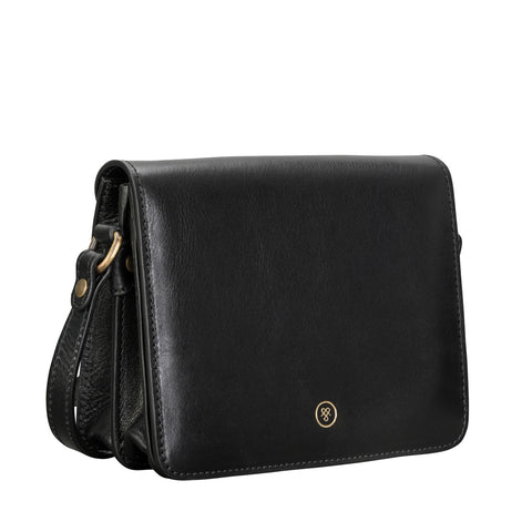 Image 2 of the 'Lucca' Small Black Veg-Tanned Leather Handbag