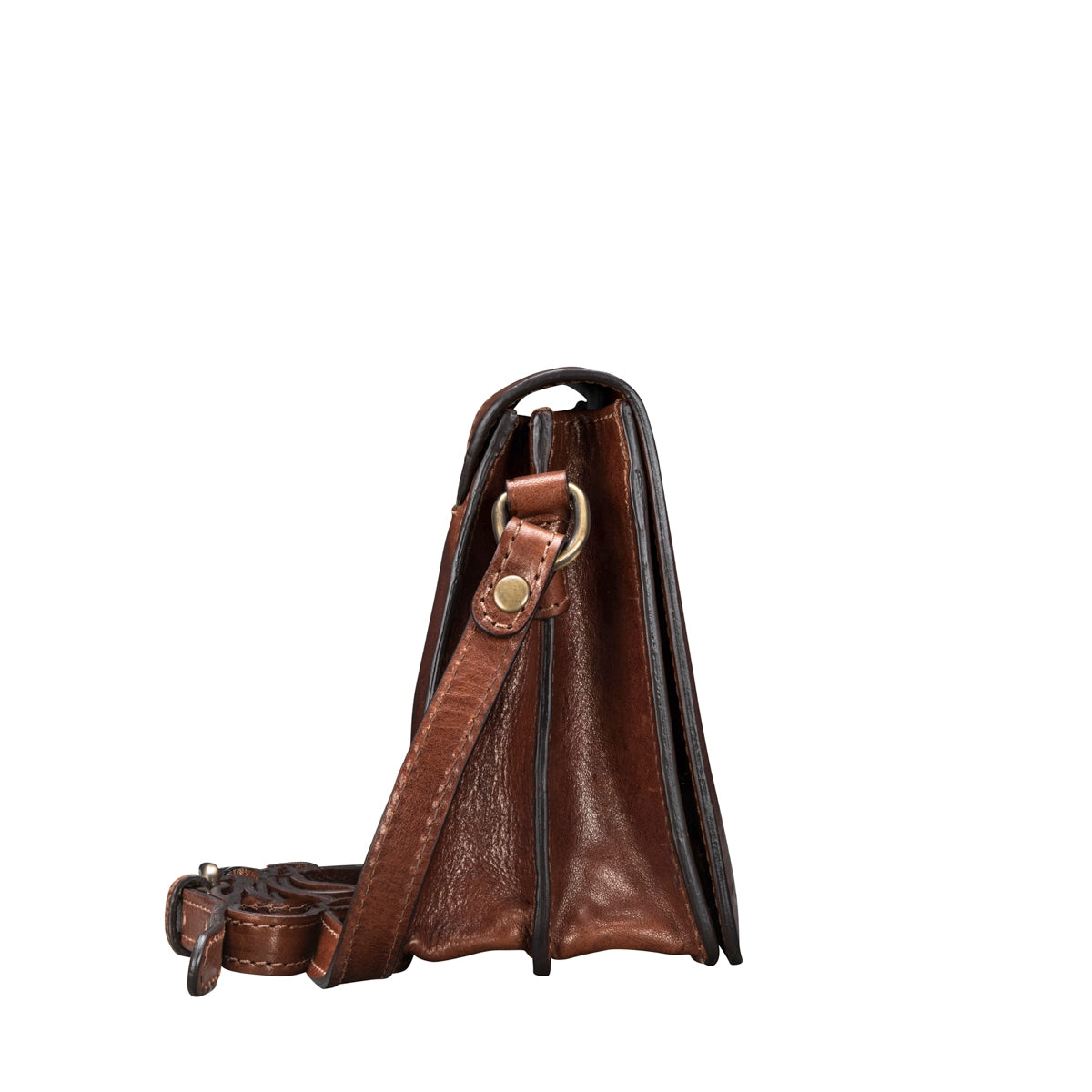Image 3 of the 'Lucca' Small Chestnut Veg-Tanned Leather Handbag