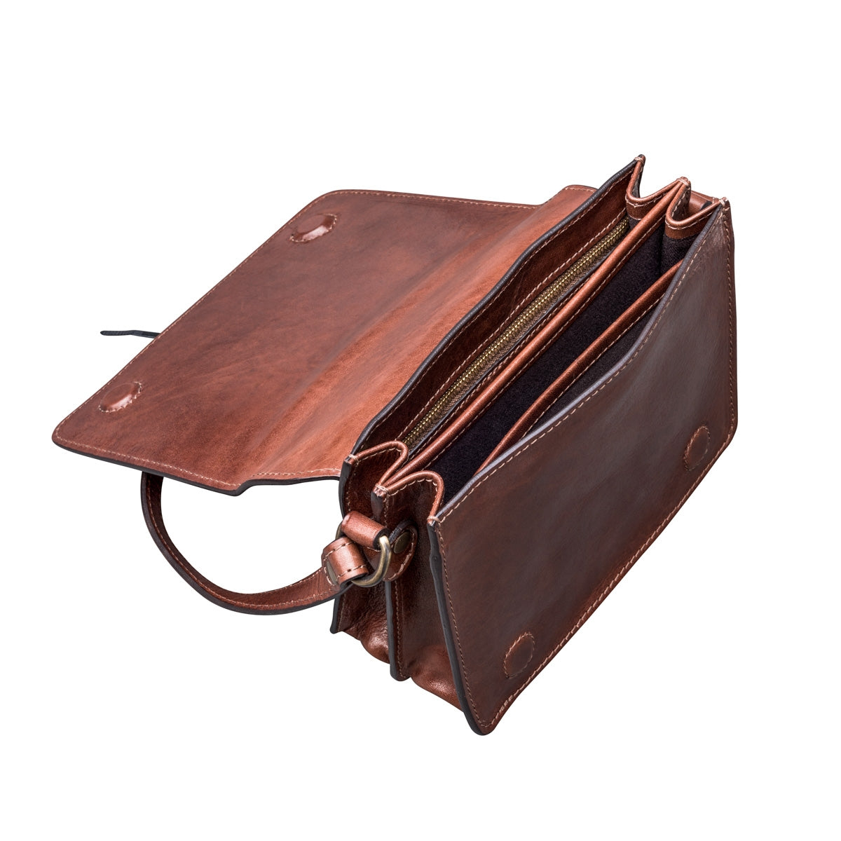 Image 5 of the 'Lucca' Small Chestnut Veg-Tanned Leather Handbag