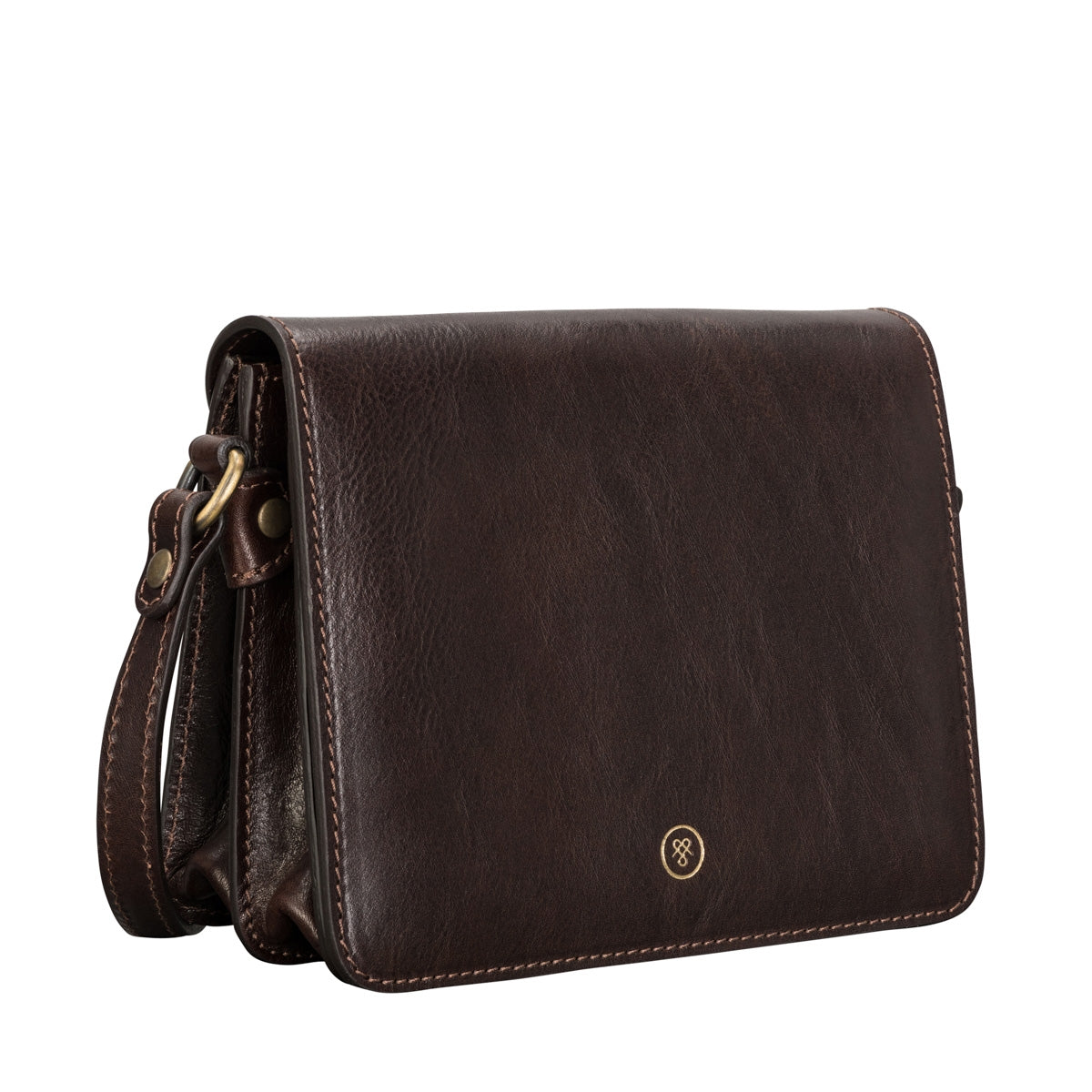 Image 2 of the 'Lucca' Small Dark Chocolate Veg-Tanned Leather Handbag