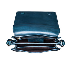 Image 6 of the Lucca' Petrol Leather Cross Body Bag