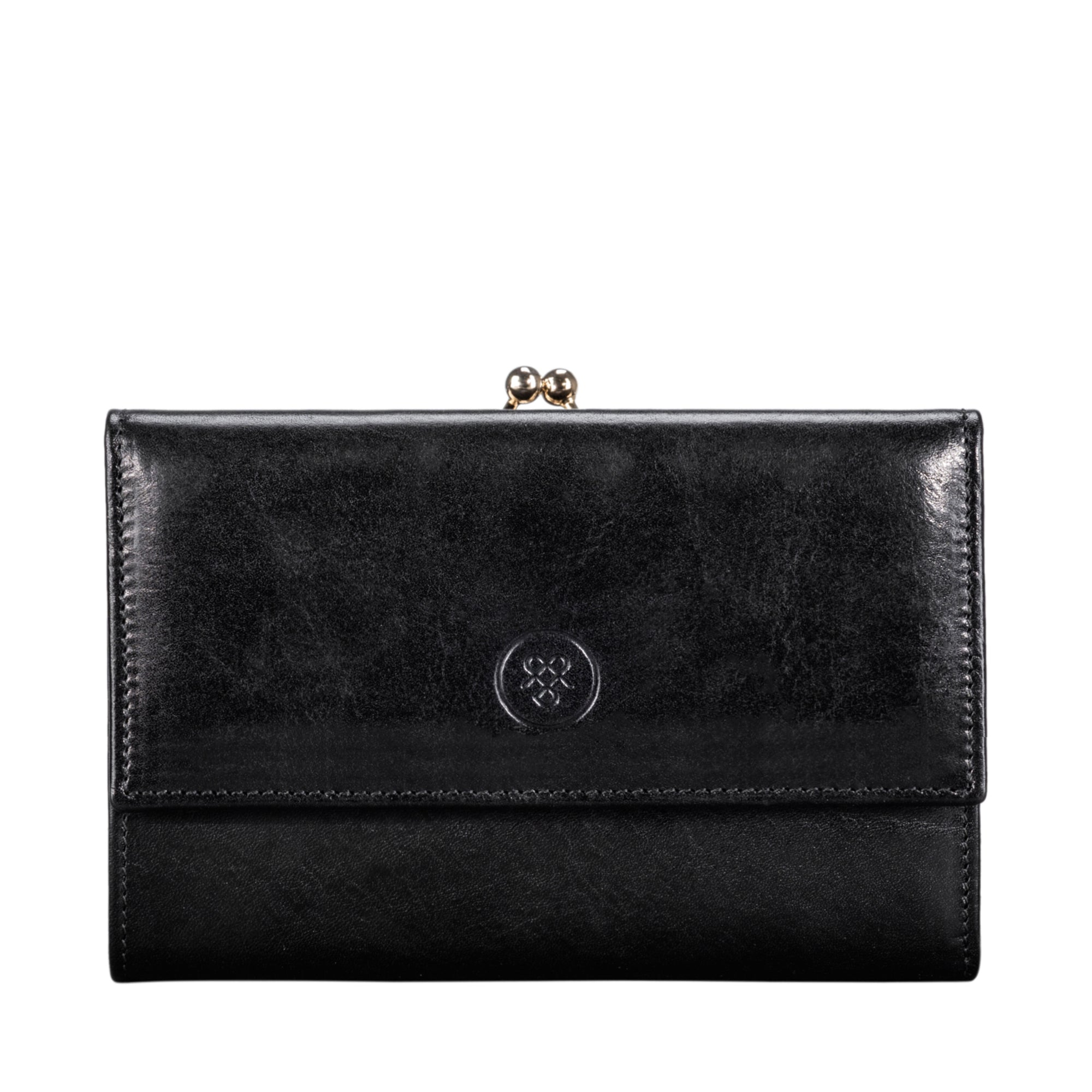 Image 1 of the 'Marcialla' Large Black Veg-Tanned Leather Italian Purse