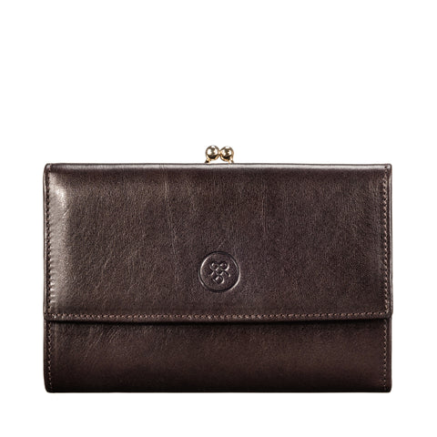 Image 1 of the 'Marcialla' Large Dark Chocolate Veg-Tanned Leather Italian Purse