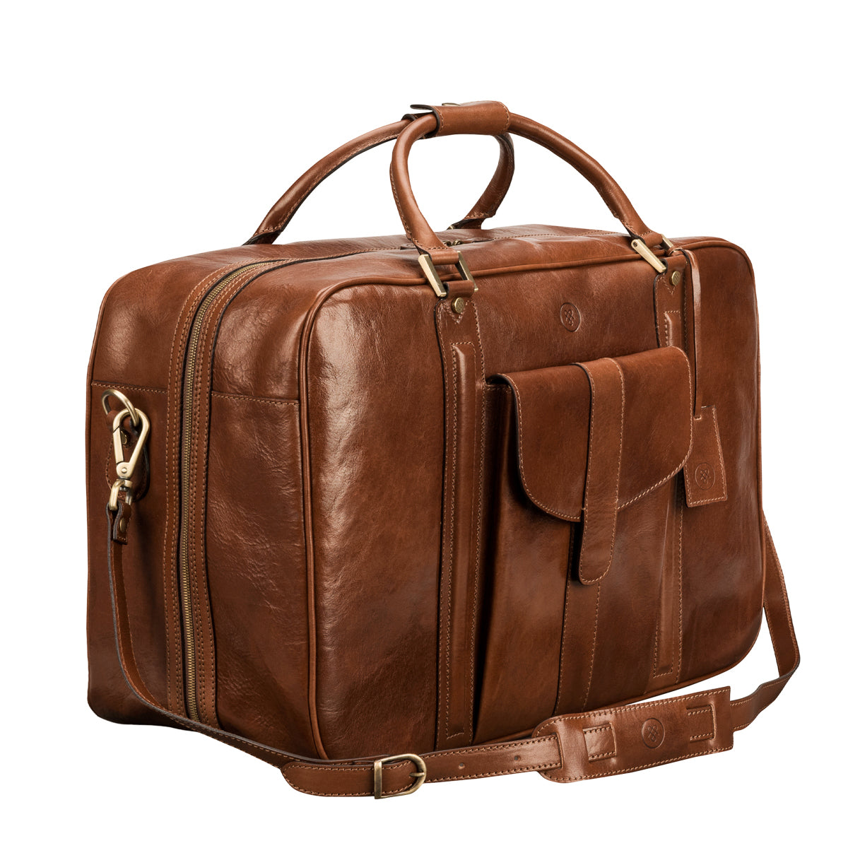 Image 2 of the 'Maurizio' Chestnut Italian Veg-Tanned Leather Suitcase