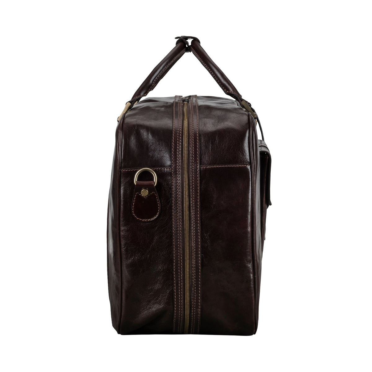 Image 3 of the 'Maurizio' Dark Chocolate Italian Veg-Tanned Leather Suitcase