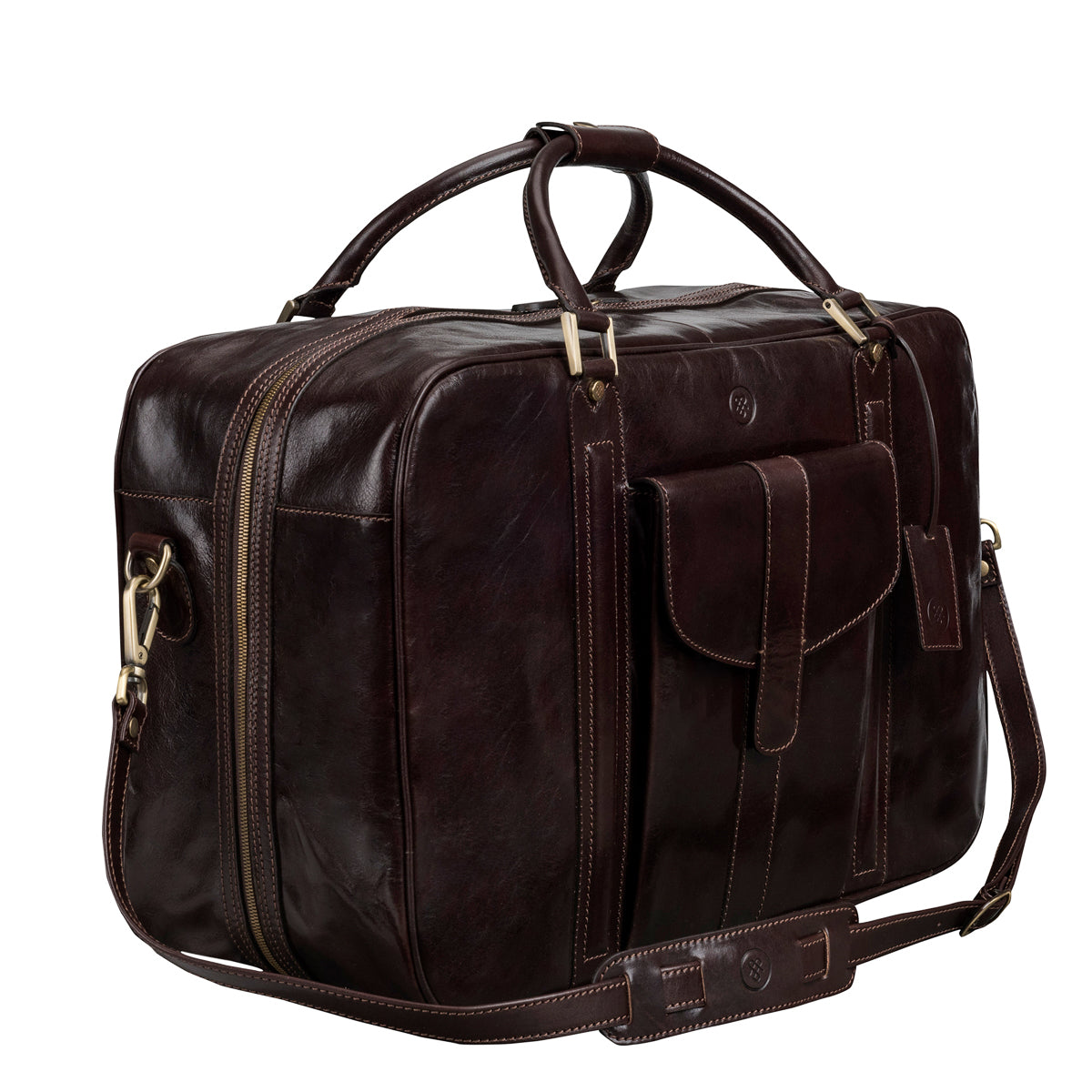 Image 2 of the 'Maurizio' Dark Chocolate Italian Veg-Tanned Leather Suitcase