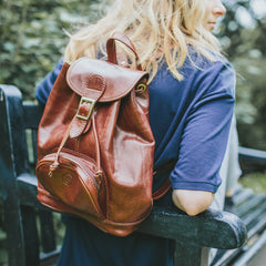Image 6 of the 'Sparano' Chestnut Veg-Tanned Leather Backpack