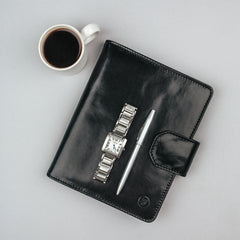 Image 5 of the 'Mozzano' Black Veg-Tanned Leather A5 Padfolio