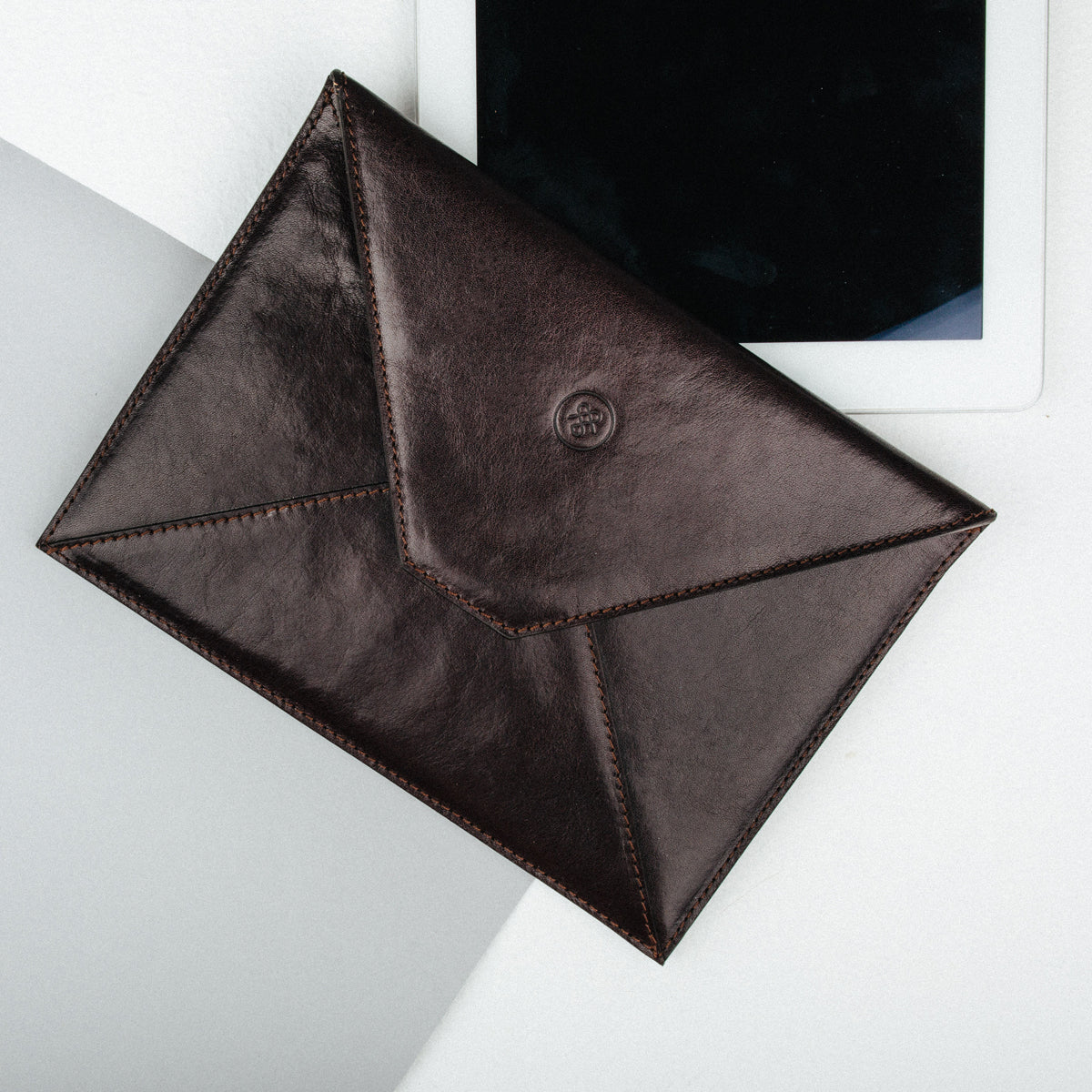 Image 5 of the 'Pico' Dark Chocolate Veg-Tanned Leather Mini Tablet Case