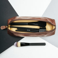 Image 7 of the 'Lorena' Leather Makeup Brush Case Tan