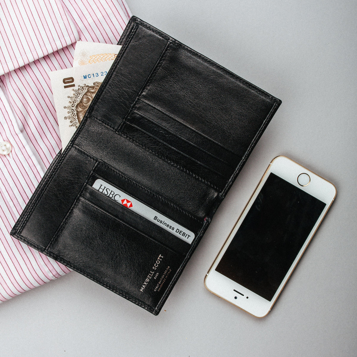 Image 7 of the Black Leather Billfold Card Wallet