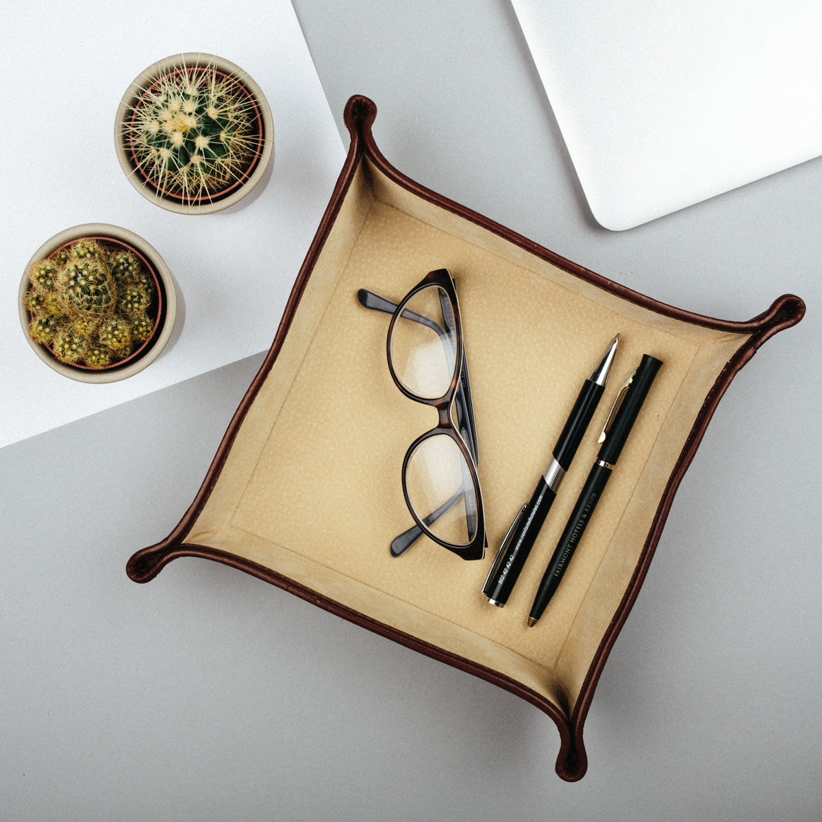 Image 5 of the 'Ilario' Black Leather Tidy Tray