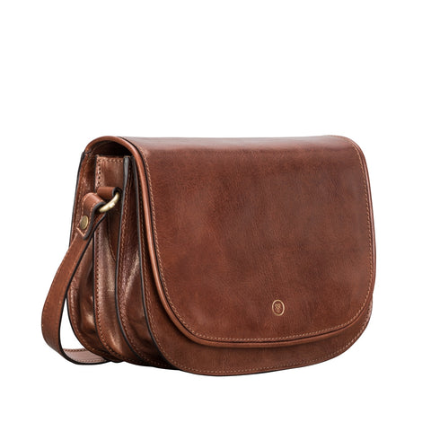 Image 2 of the 'Medolla' Chestnut Veg-Tanned Leather Saddle Handbag