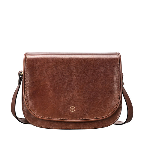 Image 1 of the 'Medolla' Chestnut Veg-Tanned Leather Saddle Handbag