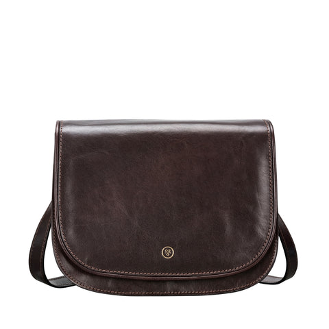 Image 1 of the 'Medolla' Dark Chocolate Veg-Tanned Leather Saddle Handbag
