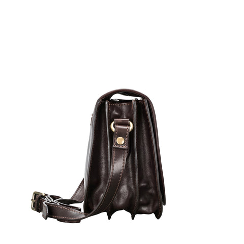 Image 2 of the 'Medolla' Dark Chocolate Veg-Tanned Leather Saddle Handbag