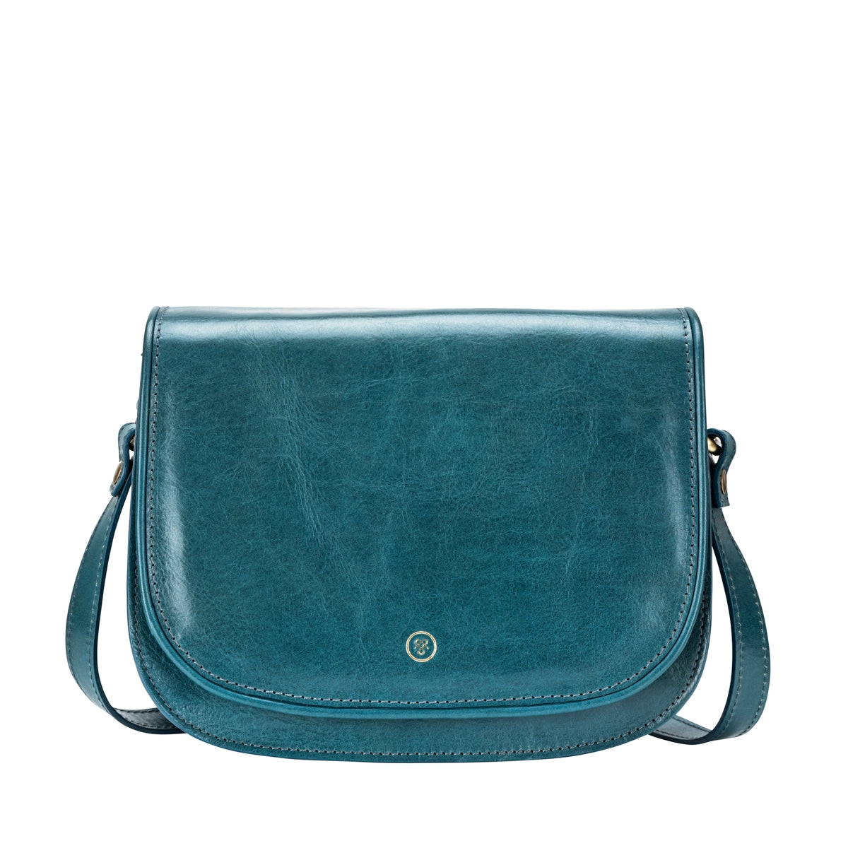 Image 1 of the 'MedollaM' Petrol Leather Women's Saddle Bag