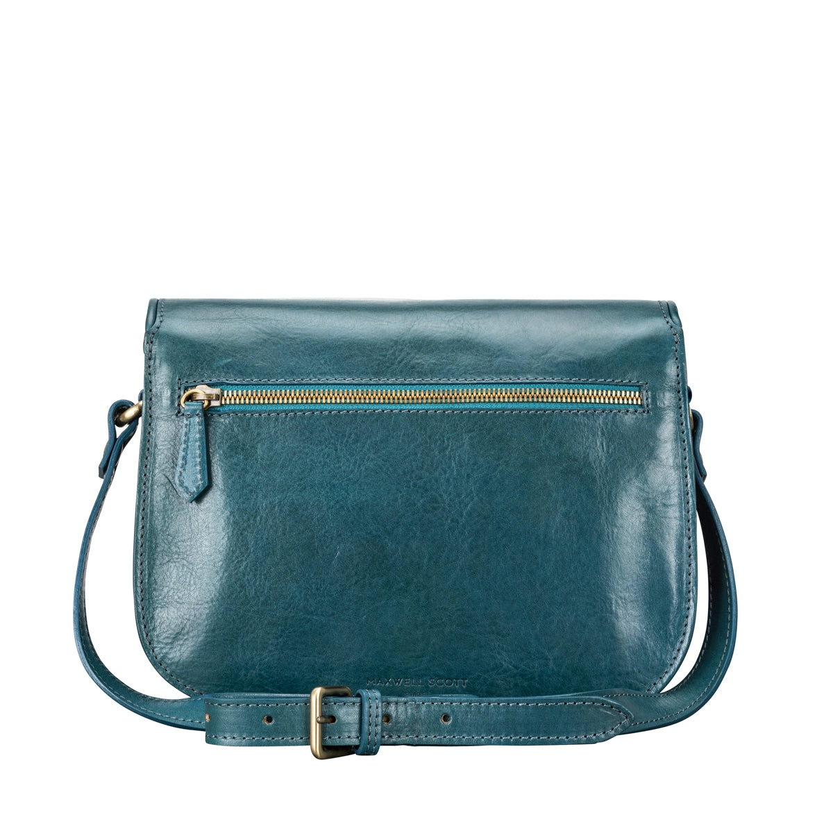 Image 4 of the 'MedollaM' Petrol Leather Women's Saddle Bag