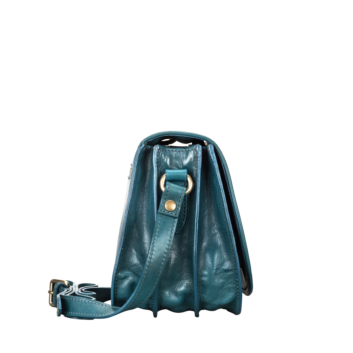 Image 3 of the 'MedollaM' Petrol Leather Women's Saddle Bag