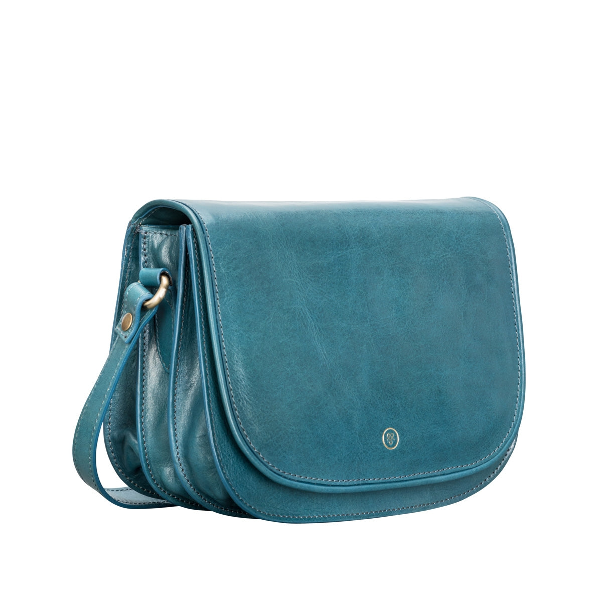Image 2 of the 'MedollaM' Petrol Leather Women's Saddle Bag