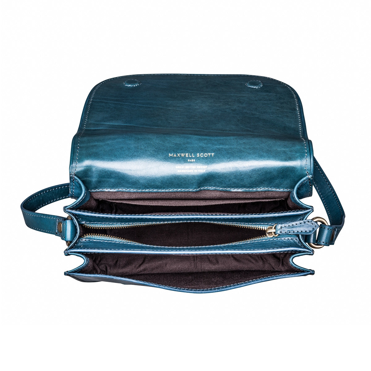 Image 6 of the 'MedollaM' Petrol Leather Women's Saddle Bag