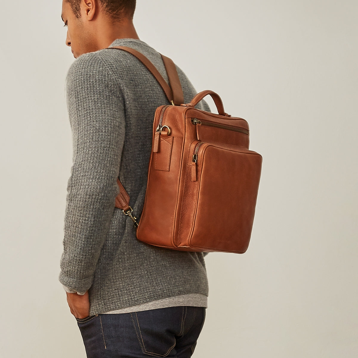 Image 8 of the 'SantinoL' Large Camel Leather Convertible Backpack Crossbody Bag For Men
