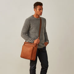 Image 9 of the 'SantinoL' Large Camel Leather Convertible Backpack Crossbody Bag For Men