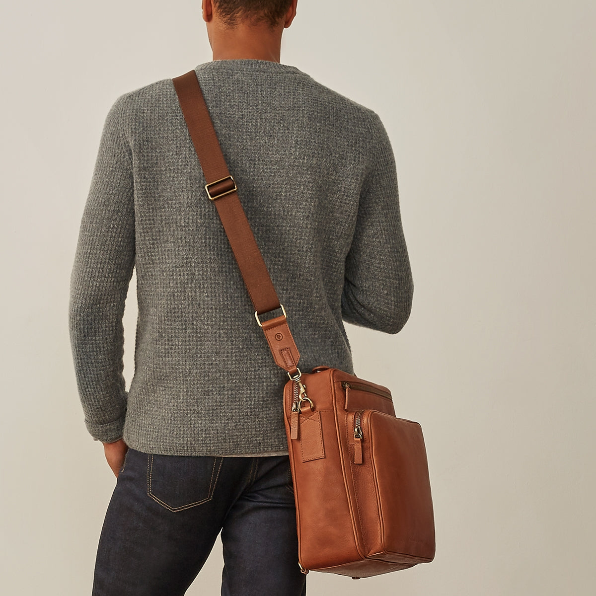 Image 10 of the 'SantinoL' Large Camel Leather Convertible Backpack Crossbody Bag For Men