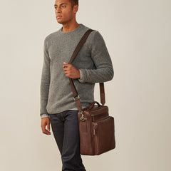 Image 8 of the 'SantinoL' Men's Brown Leather Convertible Backpack Shoulder