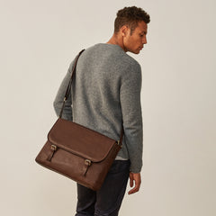 Image 6 of the 'Ravenna' Brown Leather Classic Men's Satchel Bag