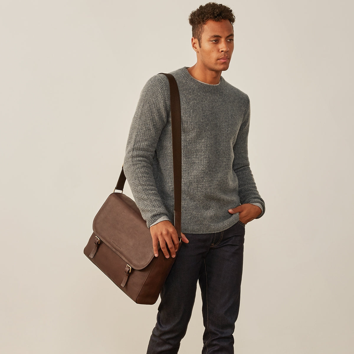 Image 7 of the 'Ravenna' Brown Leather Classic Men's Satchel Bag