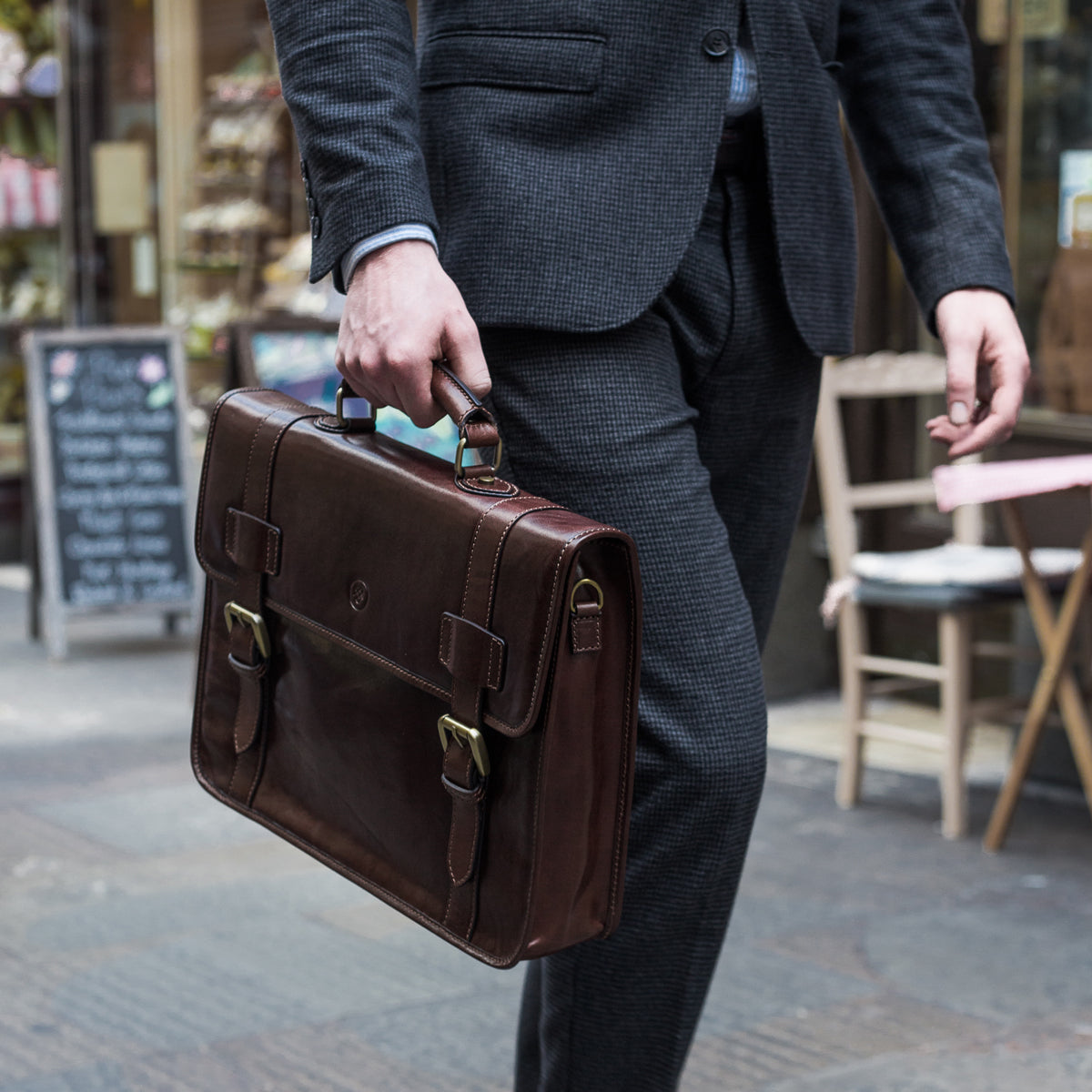Image 6 of the 'Micheli' Black Veg-Tanned Leather Backpack Briefcase