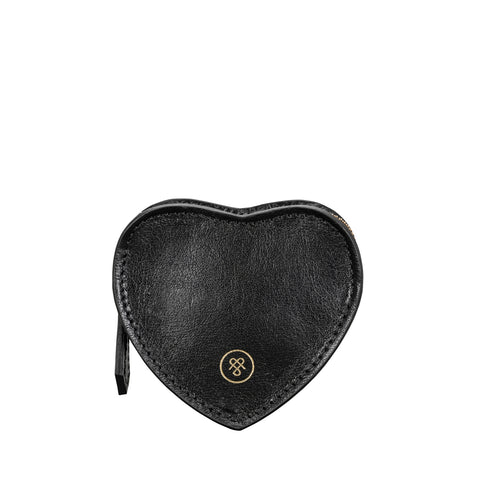 Image 1 of the 'Mirabella' Black Leather Heart-Shaped Coin Purse