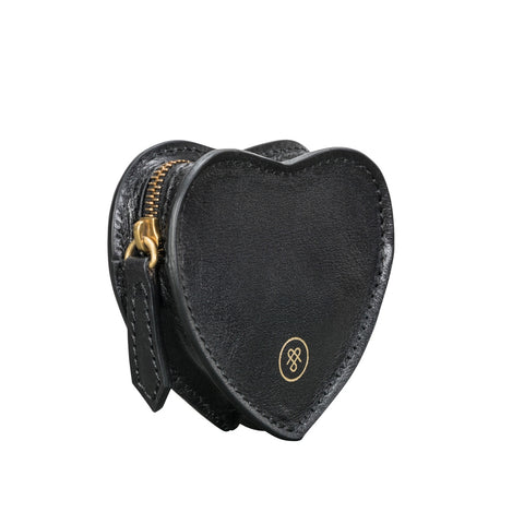 Image 2 of the 'Mirabella' Black Leather Heart-Shaped Coin Purse