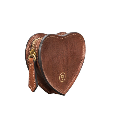 Image 2 of the 'Mirabella' Tan Leather Heart Coin Purse