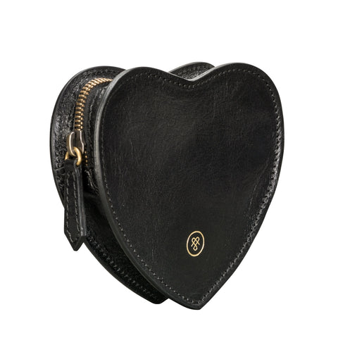 Image 2 of the 'MirabellaL' Black Leather Heart-shaped Handbag Organiser