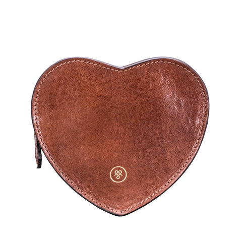 Image 1 of the 'MirabellaL' Tan Leather Heart-shaped Handbag Tidy