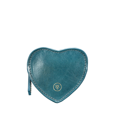 Image 1 of the 'Mirabella' Petrol Leather Heart-Shaped Coin Purse