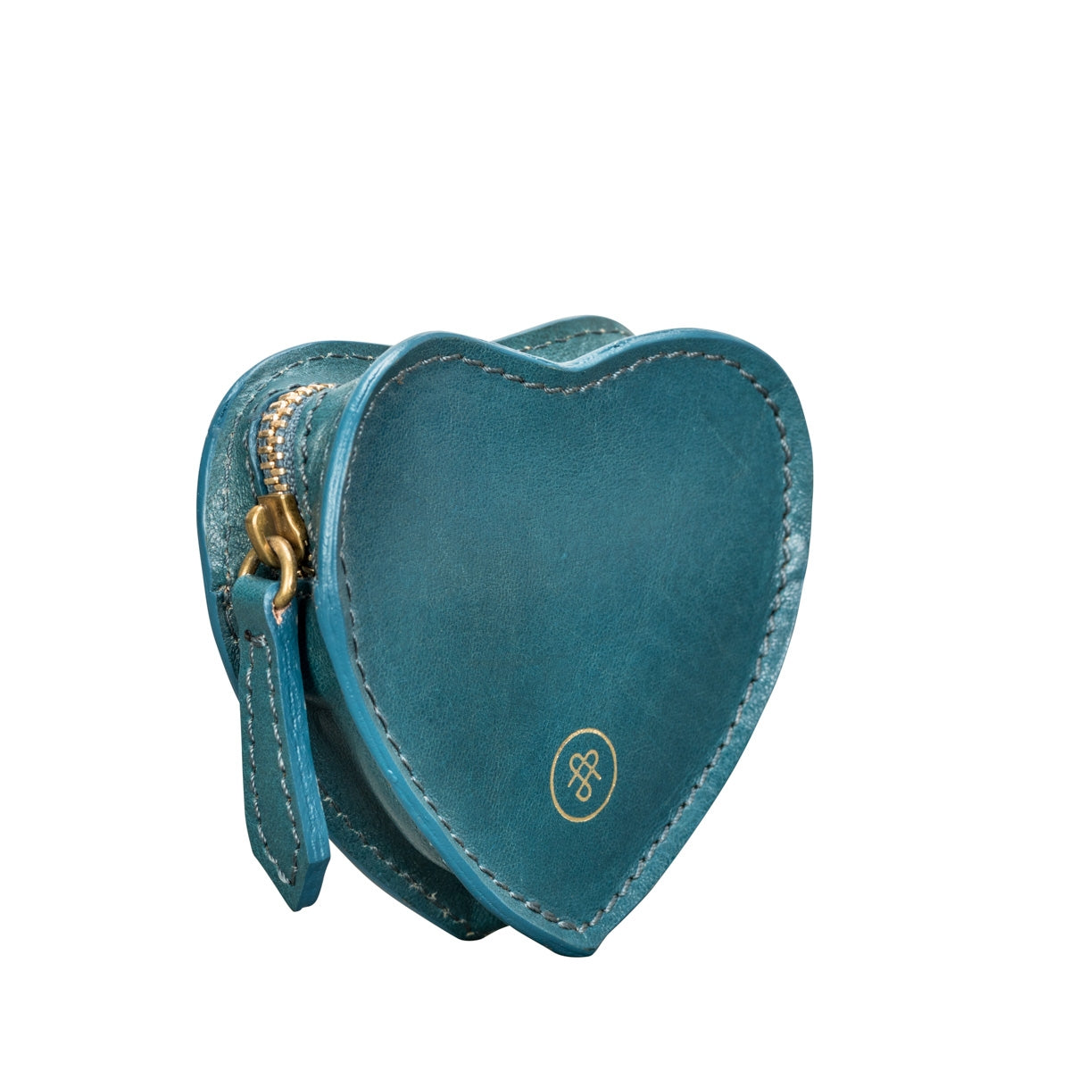 Image 4 of the 'Mirabella' Petrol Leather Heart-Shaped Coin Purse