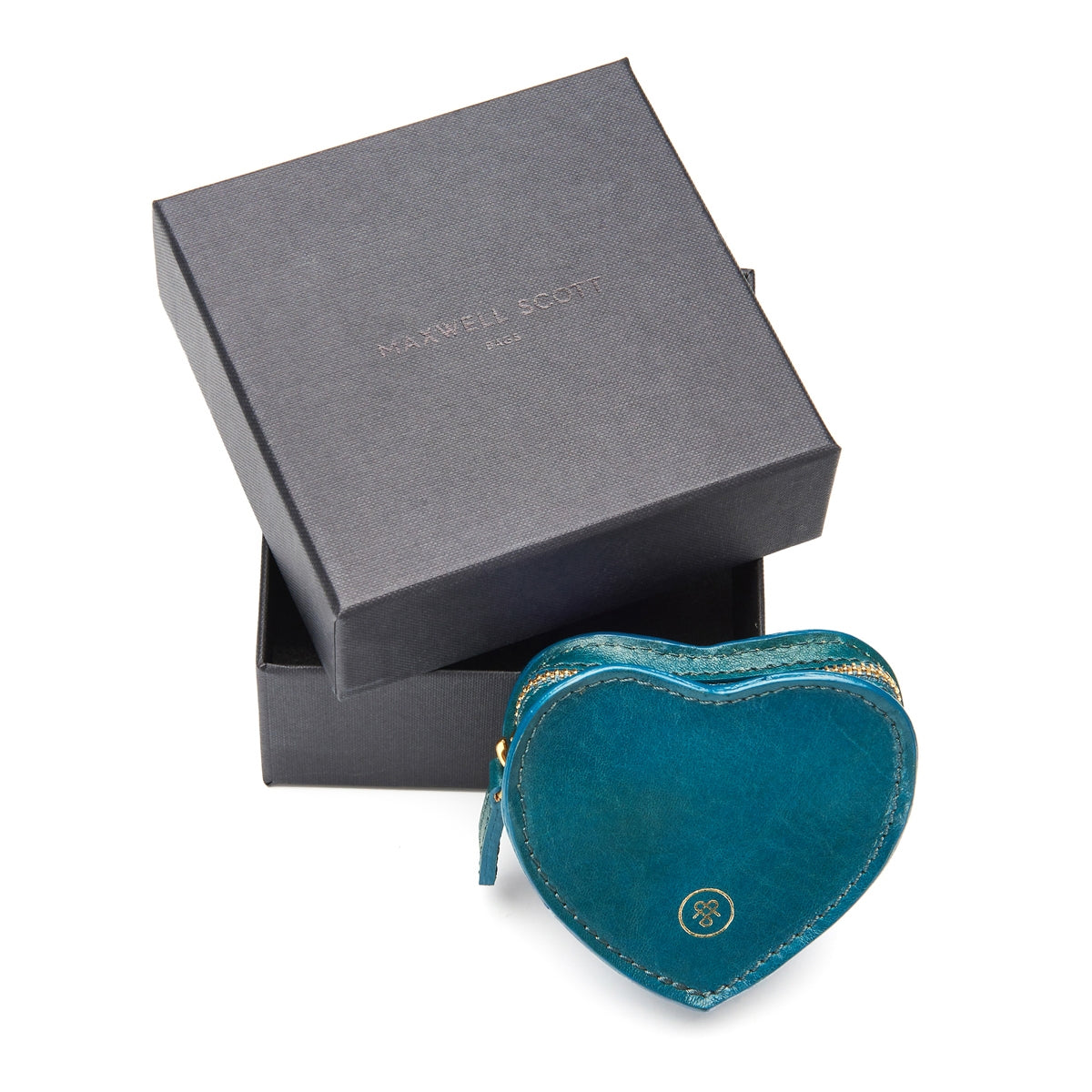 Image 6 of the 'Mirabella' Petrol Leather Heart-Shaped Coin Purse