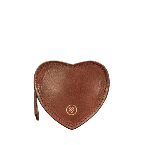 Image 1 of the 'Mirabella' Tan Leather Heart Coin Purse