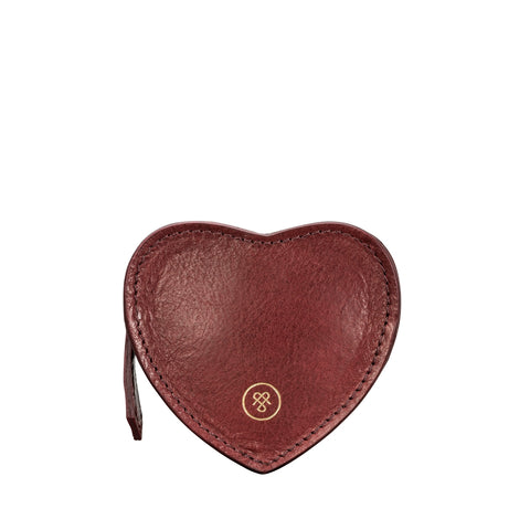 Image 1 of the 'Mirabella' Wine Leather Heart-Shaped Coin Purse