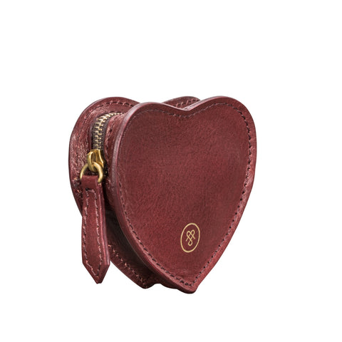 Image 2 of the 'Mirabella' Wine Leather Heart-Shaped Coin Purse